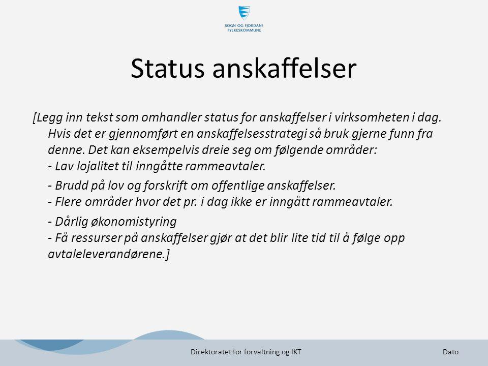 Status anskaffelser [Legg inn tekst som omhandler status for anskaffelser i virksomheten i dag. Hvis det er gjennomført en anskaffelsesstrategi så bru