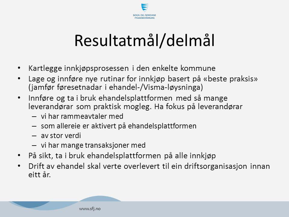 Resultatmål/delmål Kartlegge innkjøpsprosessen i den enkelte kommune Lage og innføre nye rutinar for innkjøp basert på «beste praksis» (jamfør føreset