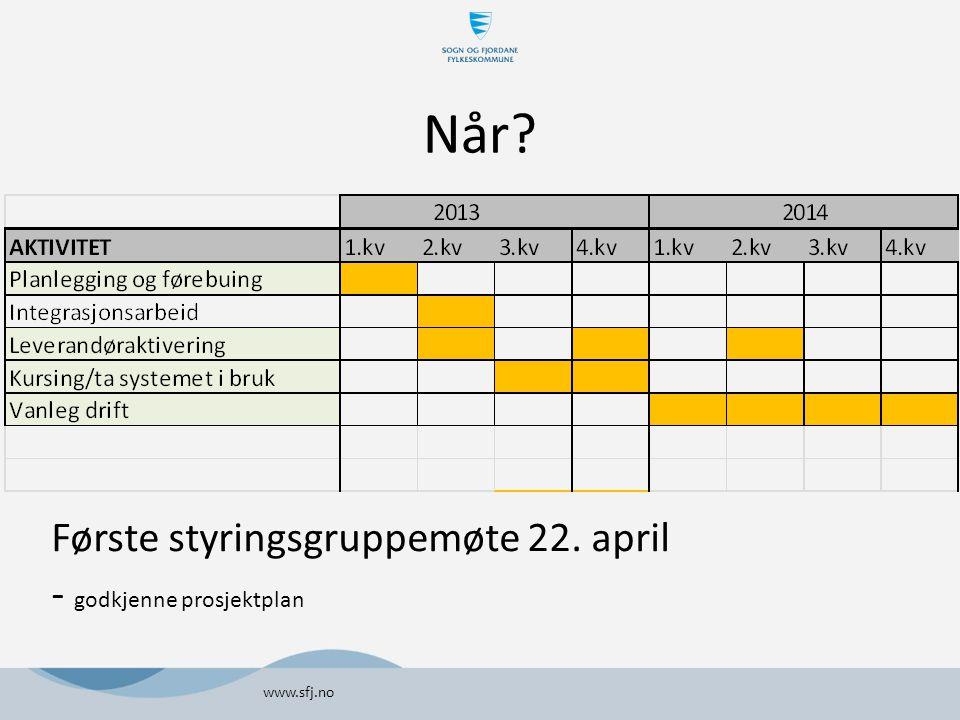 Når? Første styringsgruppemøte 22. april - godkjenne prosjektplan www.sfj.no