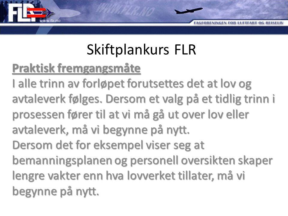 Skiftplankurs FLR Praktisk fremgangsmåte I alle trinn av forløpet forutsettes det at lov og avtaleverk følges. Dersom et valg på et tidlig trinn i pro