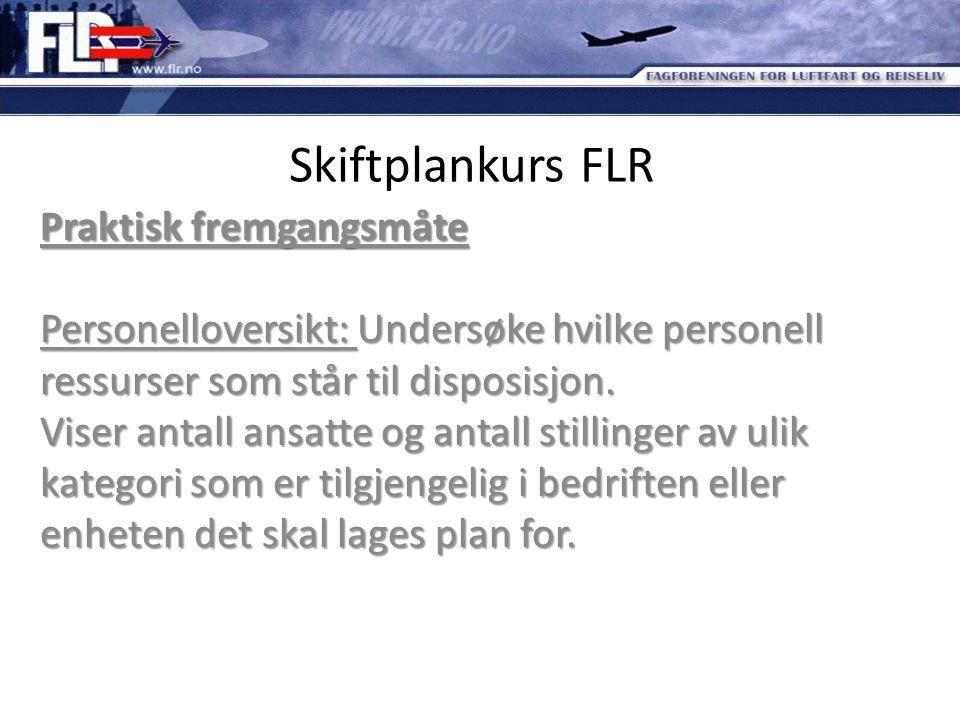 Skiftplankurs FLR Praktisk fremgangsmåte Personelloversikt: Undersøke hvilke personell ressurser som står til disposisjon. Viser antall ansatte og ant