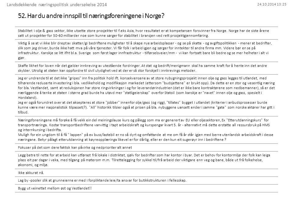 24.10.2014 13:25 52. Har du andre innspill til næringsforeningene i Norge? Landsdekkende næringspolitisk undersøkelse 2014 Stabilitet i olje & gass se