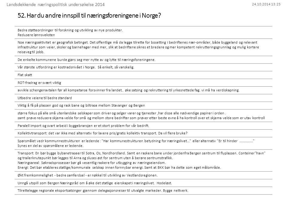 24.10.2014 13:25 52. Har du andre innspill til næringsforeningene i Norge? Landsdekkende næringspolitisk undersøkelse 2014 Bedre støtteordninger til f