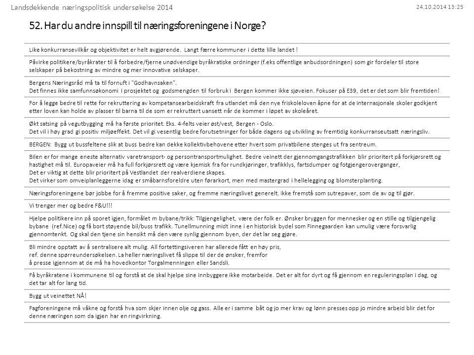 24.10.2014 13:25 52. Har du andre innspill til næringsforeningene i Norge? Landsdekkende næringspolitisk undersøkelse 2014 Like konkurransevilkår og o