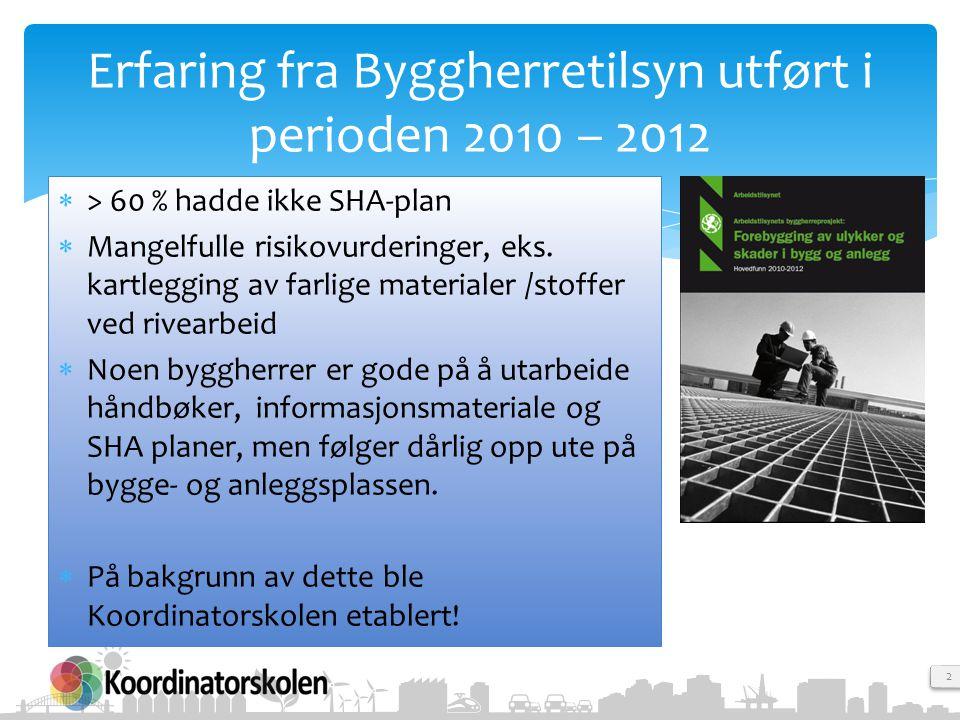 2 Erfaring fra Byggherretilsyn utført i perioden 2010 – 2012  > 60 % hadde ikke SHA-plan  Mangelfulle risikovurderinger, eks. kartlegging av farlige