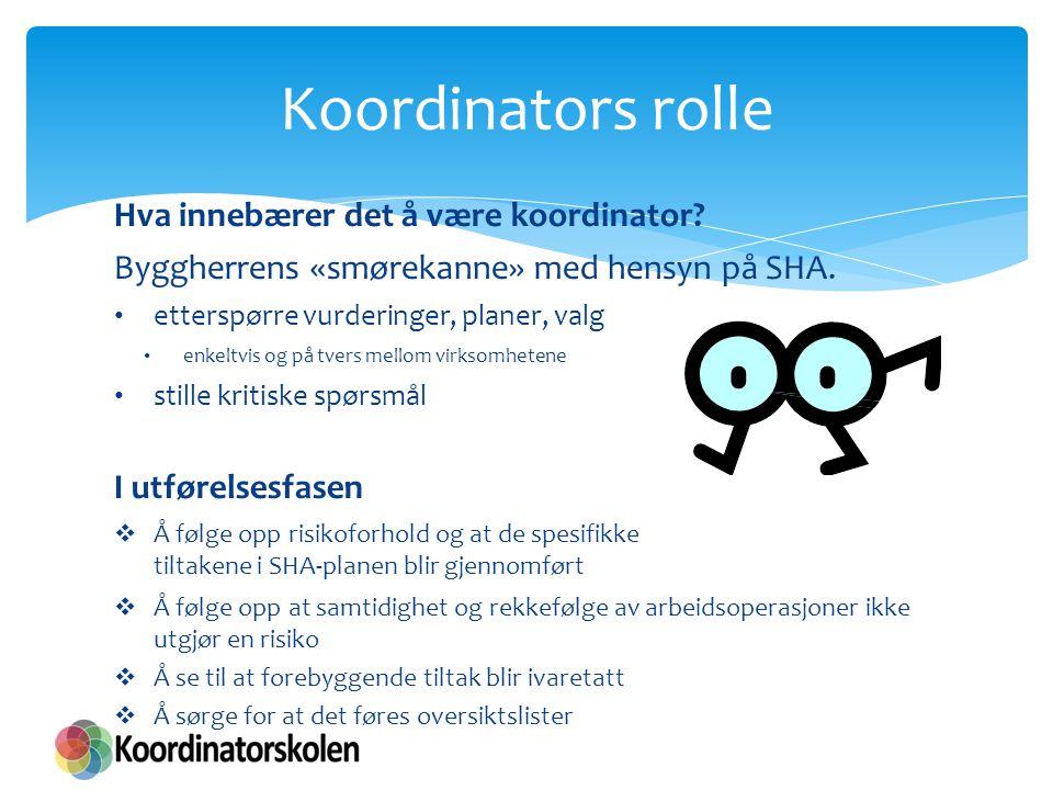 Hva innebærer det å være koordinator? Byggherrens «smørekanne» med hensyn på SHA. etterspørre vurderinger, planer, valg enkeltvis og på tvers mellom v