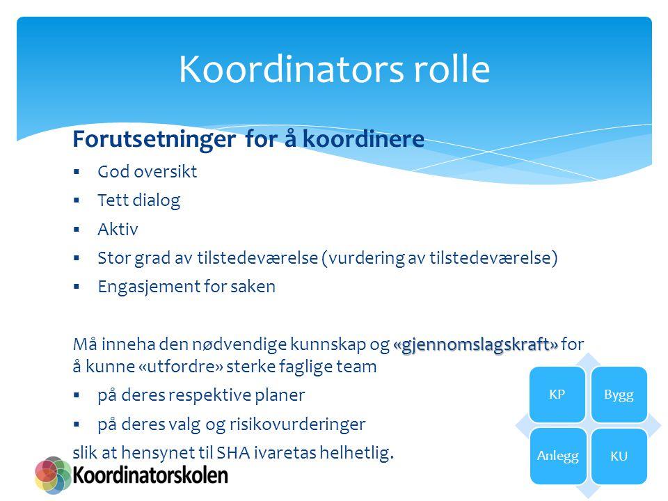 Forutsetninger for å koordinere  God oversikt  Tett dialog  Aktiv  Stor grad av tilstedeværelse (vurdering av tilstedeværelse)  Engasjement for s
