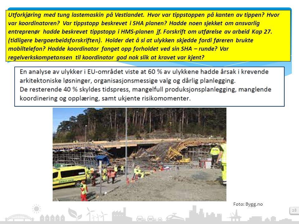 28 Foto: Bygg.no Utforkjøring med tung lastemaskin på Vestlandet. Hvor var tippstoppen på kanten av tippen? Hvor var koordinatoren? Var tippstopp besk