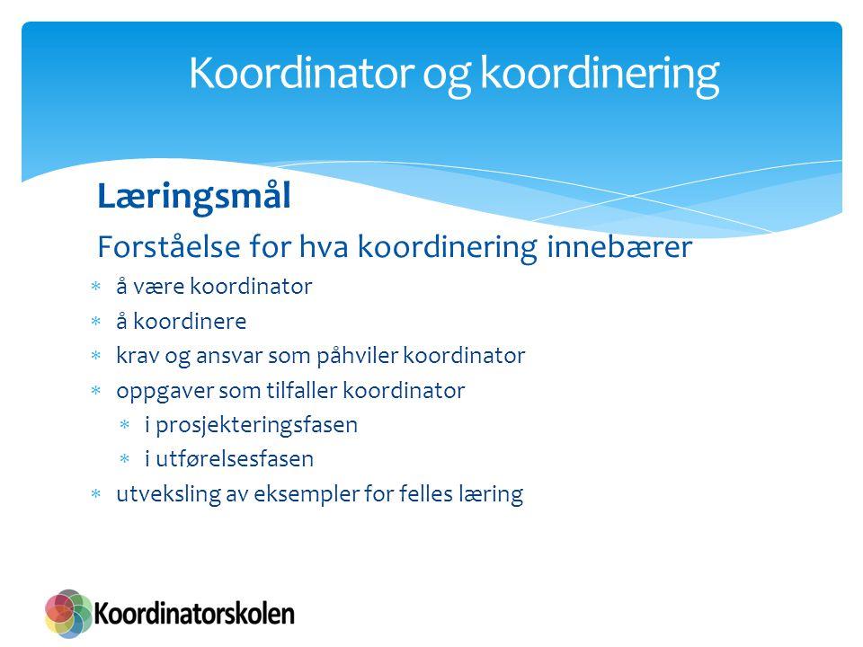 Koordinator og koordinering Oppsummering Koordinator og koordinators rolle Koordinering  Hvorfor  Hva  Prosjekterendes plikter vs.