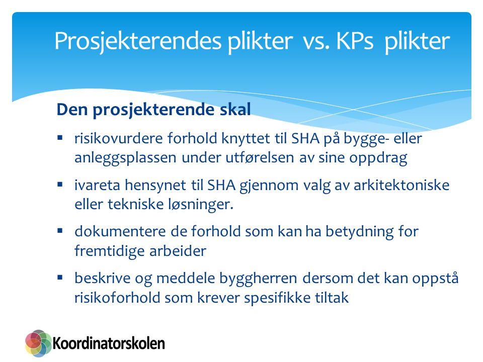 Prosjekterendes plikter vs. KPs plikter Den prosjekterende skal  risikovurdere forhold knyttet til SHA på bygge- eller anleggsplassen under utførelse