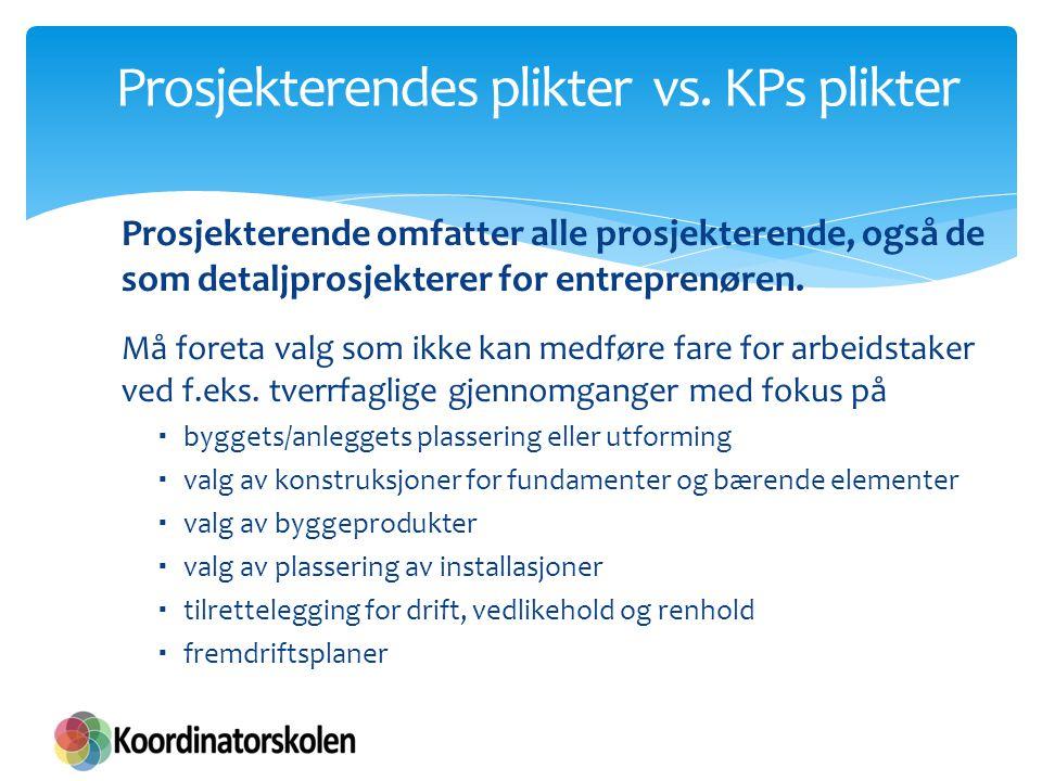 Prosjekterendes plikter vs. KPs plikter Prosjekterende omfatter alle prosjekterende, også de som detaljprosjekterer for entreprenøren. Må foreta valg