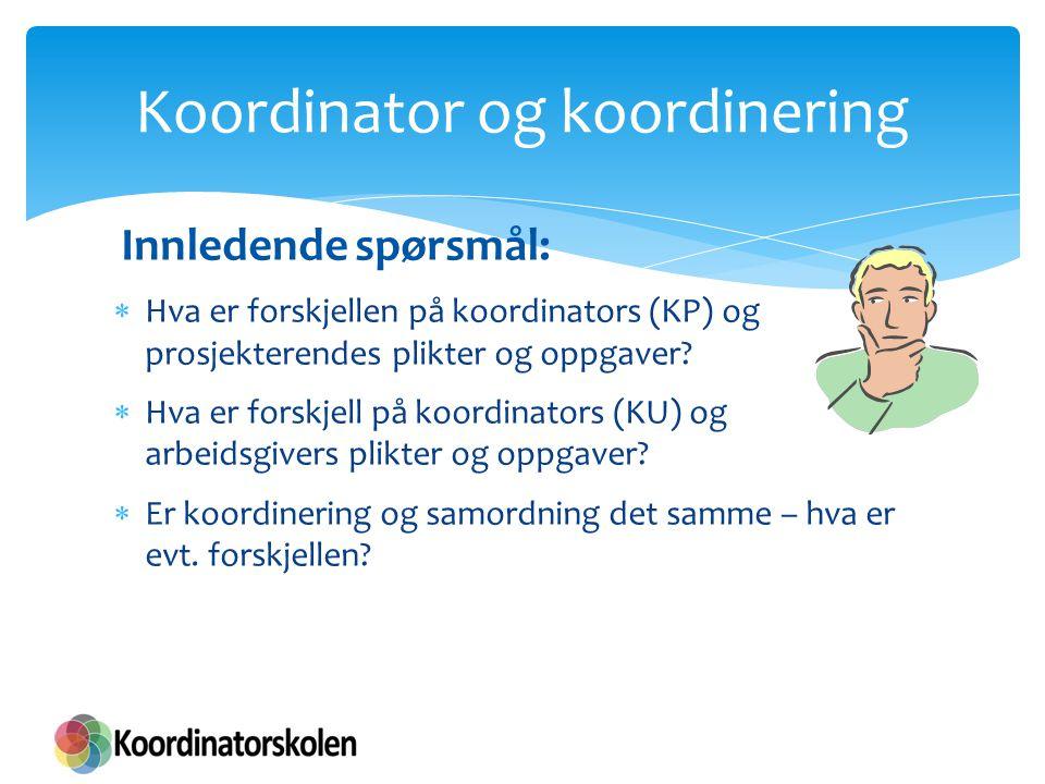 Innledende spørsmål:  Hva er forskjellen på koordinators (KP) og prosjekterendes plikter og oppgaver?  Hva er forskjell på koordinators (KU) og arbe