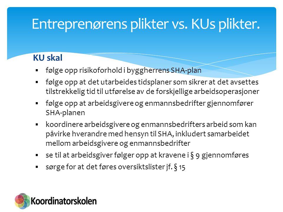 Entreprenørens plikter vs. KUs plikter. KU skal  følge opp risikoforhold i byggherrens SHA-plan  følge opp at det utarbeides tidsplaner som sikrer a