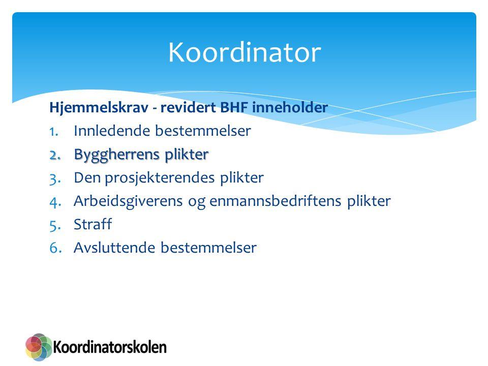 Koordinering § 9 a) at det treffes nødvendige tiltak for å sikre at uvedkommende ikke får atkomst til bygge- eller anleggsplassen b) at det tas hensyn til andre virksomheter på eller i nærheten av bygge-eller anleggsplassen c) god orden og fullt forsvarlige hygieniske forhold d) sikker atkomst til arbeidsplassene og sikre ferdselsveier e) avmerking og tilrettelegging av områder for lagring og oppbevaring av forskjellige materialer, særlig når det dreier seg om farlige materialer eller stoffer f) vedlikehold, kontroll før igangsettelse og kontroll av anlegg og utstyr, for å kunne rette opp feil som kan påvirke arbeidstakernes sikkerhet, helse og arbeidsmiljø g) lagring, håndtering og fjerning av avfall og farlige materialer h) forsvarlige arbeidstidsordninger i) tilfredsstillende personalrom j) forsvarlig innkvartering.