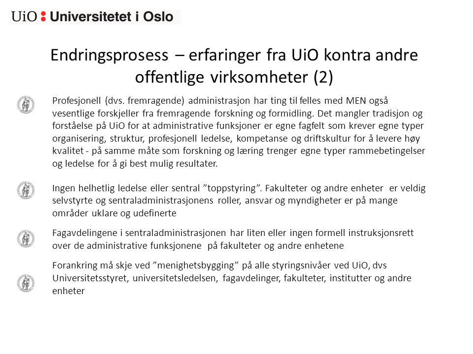 Endringsprosess – erfaringer fra UiO kontra andre offentlige virksomheter (2) Profesjonell (dvs.