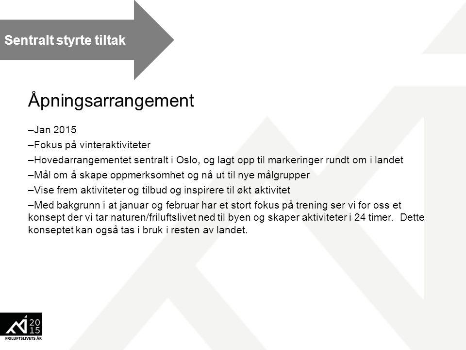 Åpningsarrangement –Jan 2015 –Fokus på vinteraktiviteter –Hovedarrangementet sentralt i Oslo, og lagt opp til markeringer rundt om i landet –Mål om å