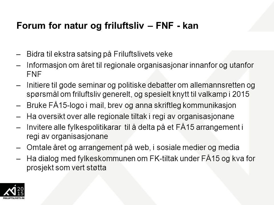 Forum for natur og friluftsliv – FNF - kan –Bidra til ekstra satsing på Friluftslivets veke –Informasjon om året til regionale organisasjonar innanfor