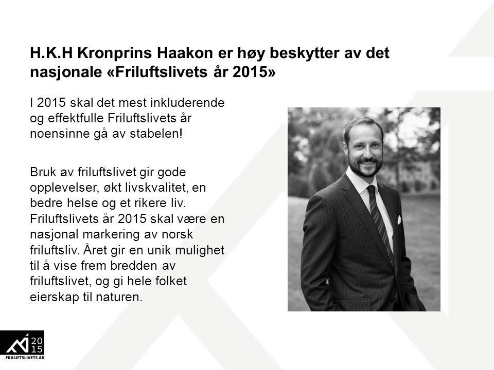 H.K.H Kronprins Haakon er høy beskytter av det nasjonale «Friluftslivets år 2015» I 2015 skal det mest inkluderende og effektfulle Friluftslivets år n