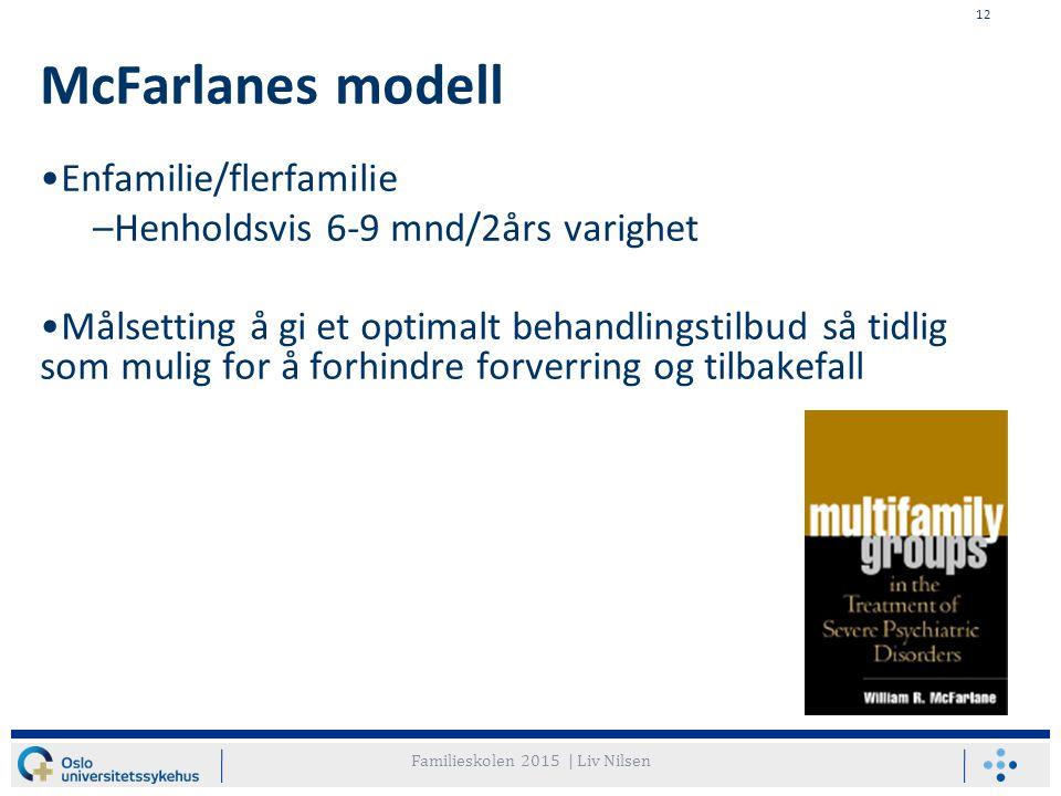 12 McFarlanes modell Enfamilie/flerfamilie –Henholdsvis 6-9 mnd/2års varighet Målsetting å gi et optimalt behandlingstilbud så tidlig som mulig for å