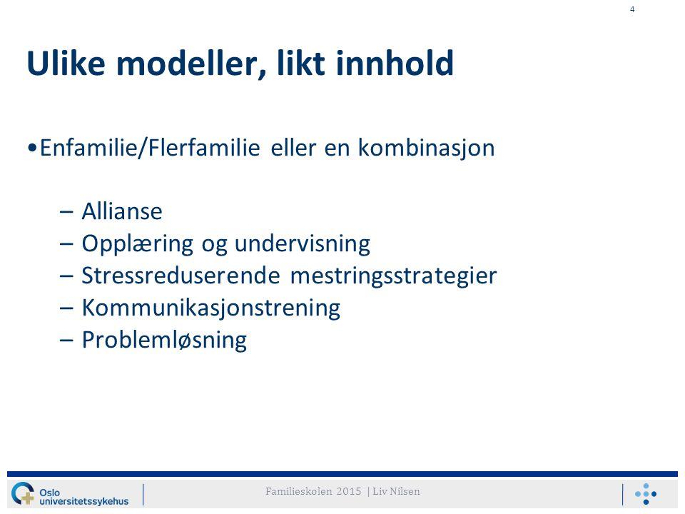 4 Ulike modeller, likt innhold Enfamilie/Flerfamilie eller en kombinasjon –Allianse –Opplæring og undervisning –Stressreduserende mestringsstrategier