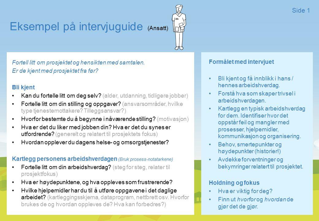 Eksempel på intervjuguide (Ansatt) Side 1 Formålet med intervjuet Bli kjent og få innblikk i hans / hennes arbeidshverdag. Forstå hva som skaper trivs