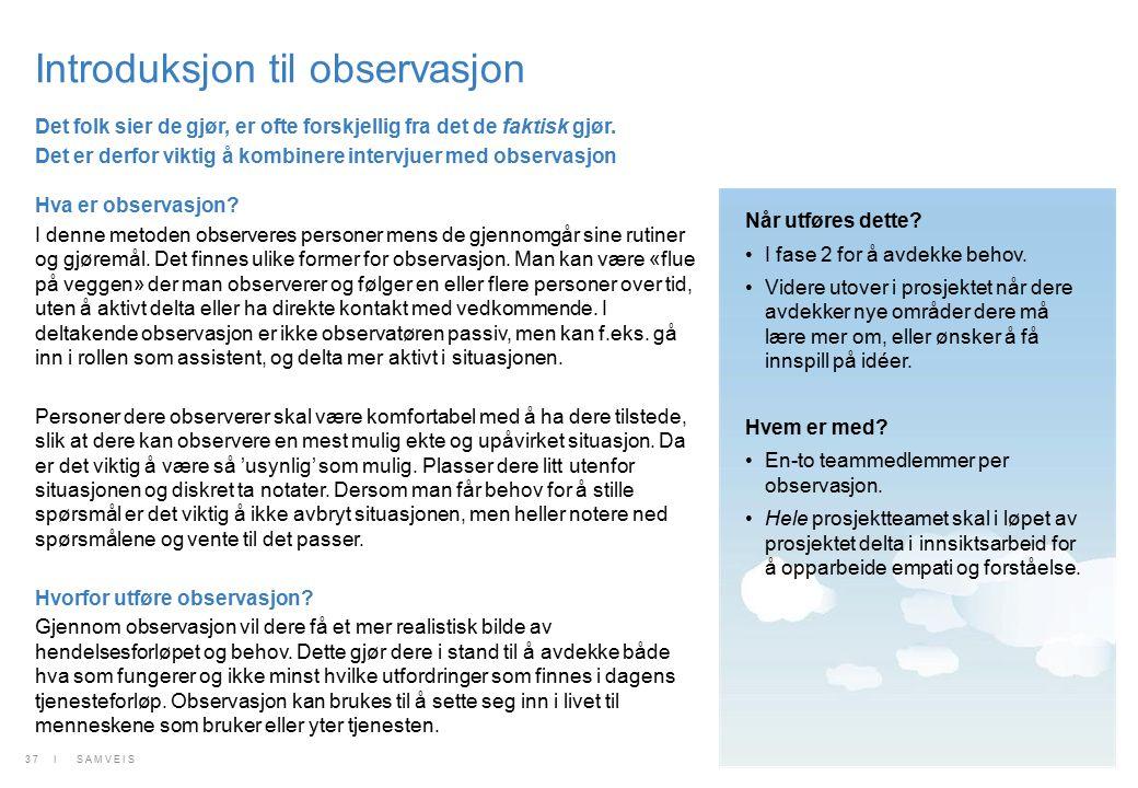 Introduksjon til observasjon Hva er observasjon? I denne metoden observeres personer mens de gjennomgår sine rutiner og gjøremål. Det finnes ulike for