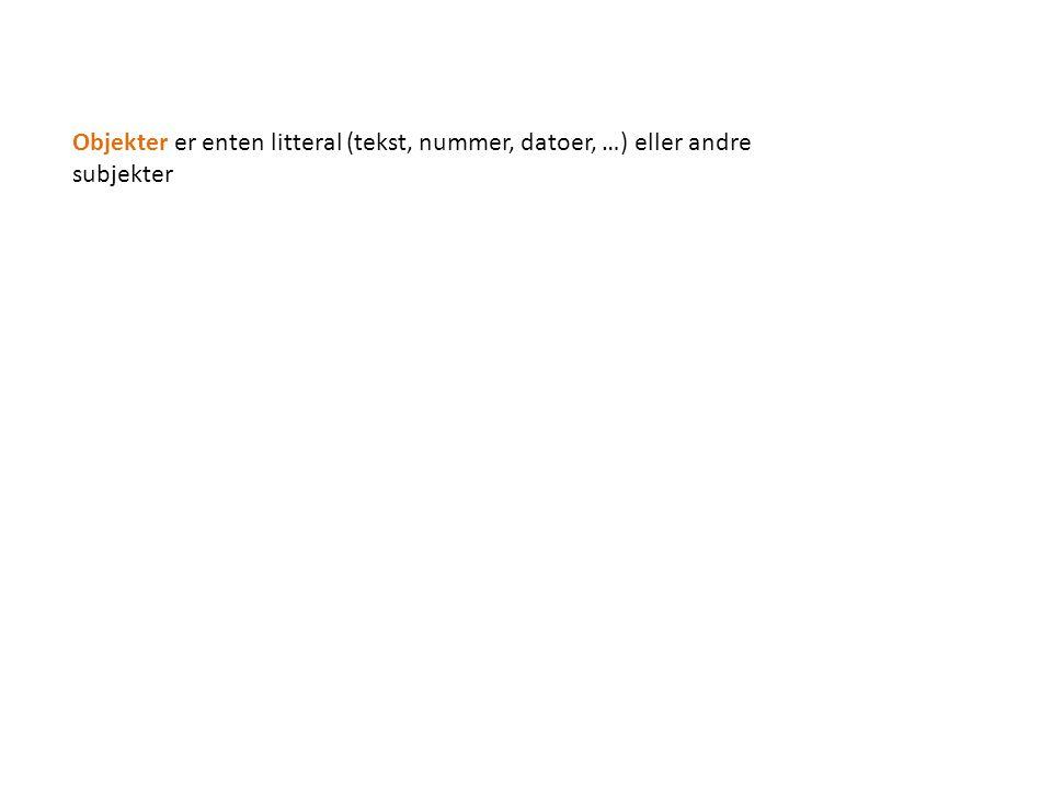 Objekter er enten litteral (tekst, nummer, datoer, …) eller andre subjekter