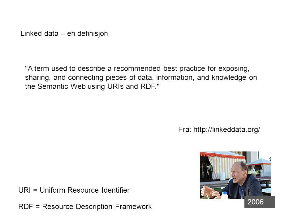 Linked Data - hvordan 1.Use URIs as names for things 2.Use HTTP URIs so that people can look up those names.