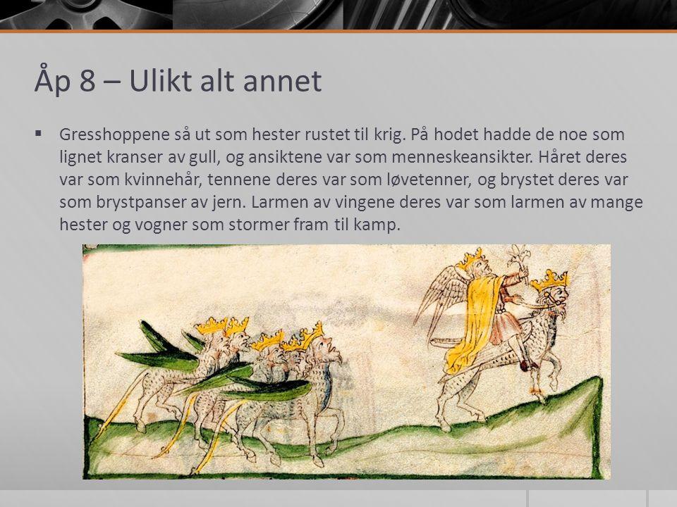 Åp 8 – Ulikt alt annet  Gresshoppene så ut som hester rustet til krig.