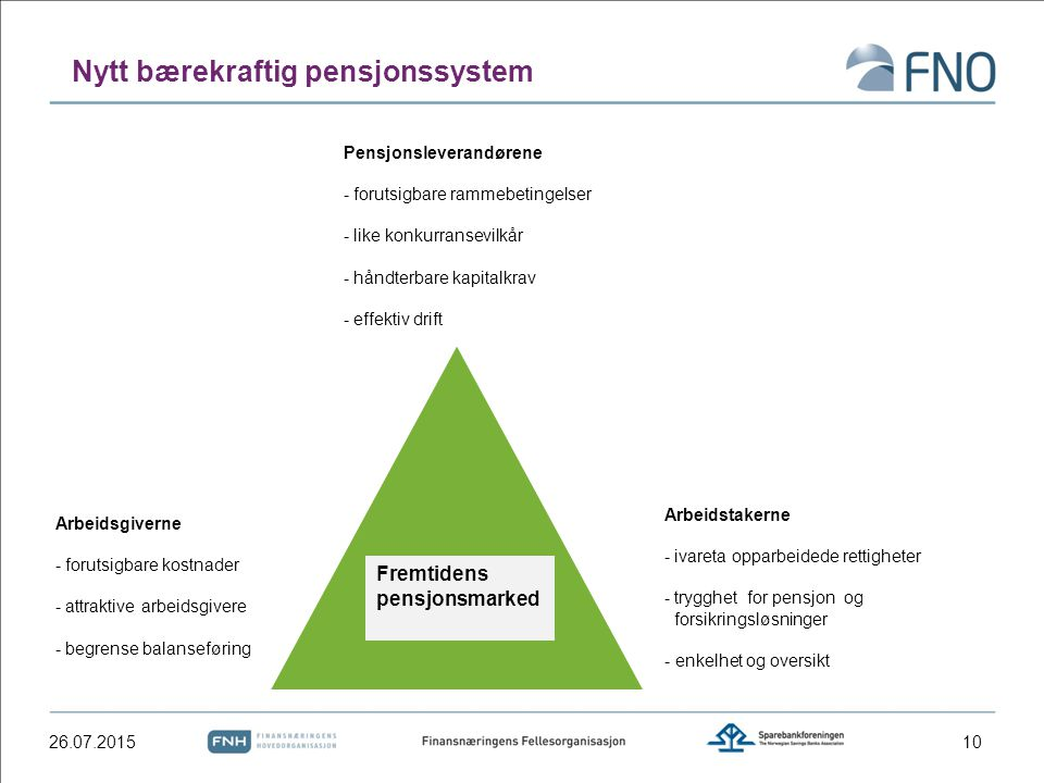 Nytt bærekraftig pensjonssystem 26.07.201510 Fremtidens pensjonsmarked Pensjonsleverandørene - forutsigbare rammebetingelser - like konkurransevilkår