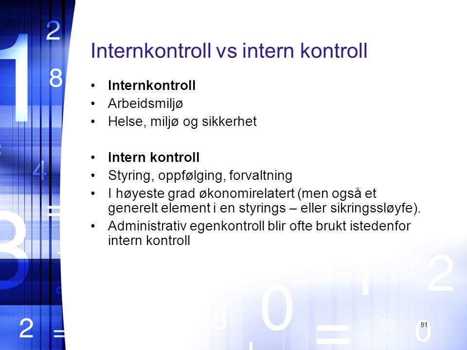 Internkontroll vs intern kontroll Internkontroll Arbeidsmiljø Helse, miljø og sikkerhet Intern kontroll Styring, oppfølging, forvaltning I høyeste grad økonomirelatert (men også et generelt element i en styrings – eller sikringssløyfe).