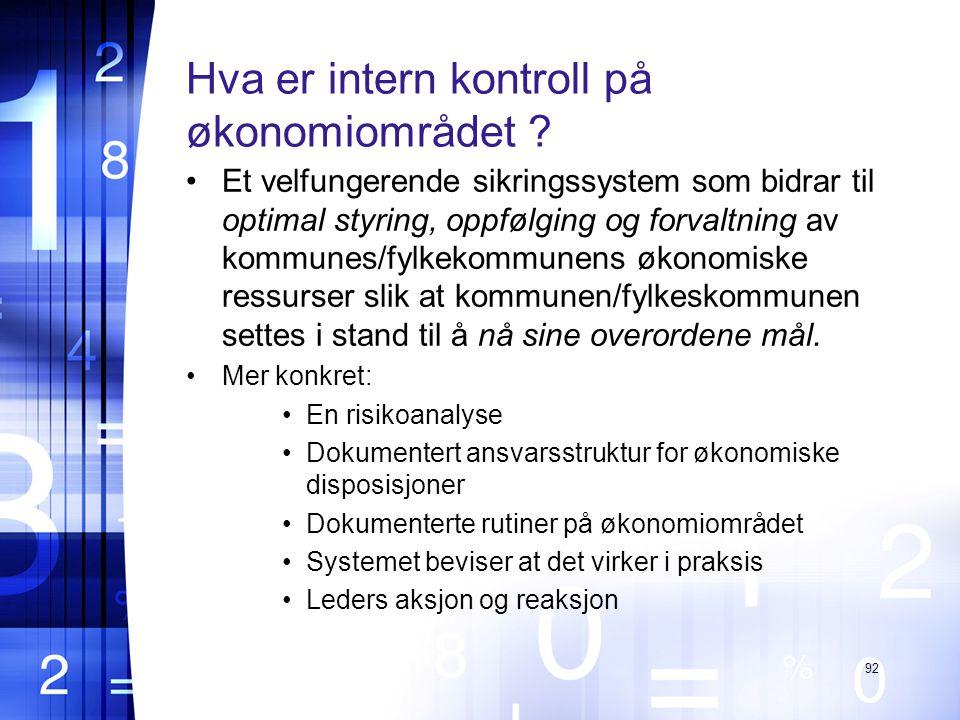 Hva er intern kontroll på økonomiområdet .