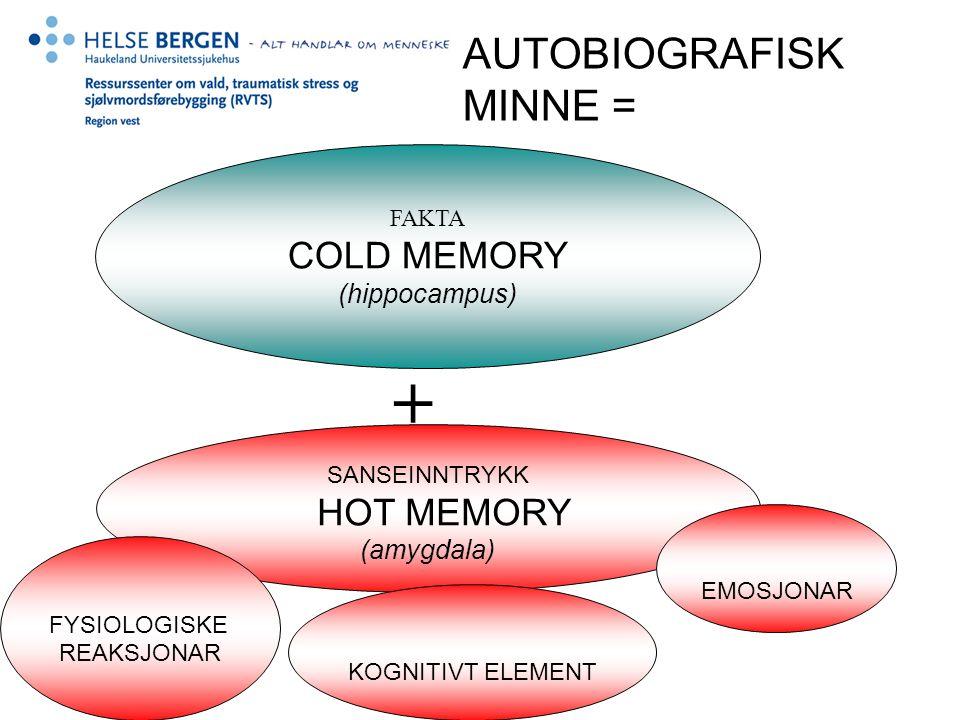 AUTOBIOGRAFISK MINNE = FAKTA COLD MEMORY (hippocampus) SANSEINNTRYKK HOT MEMORY (amygdala) KOGNITIVT ELEMENT EMOSJONAR FYSIOLOGISKE REAKSJONAR +
