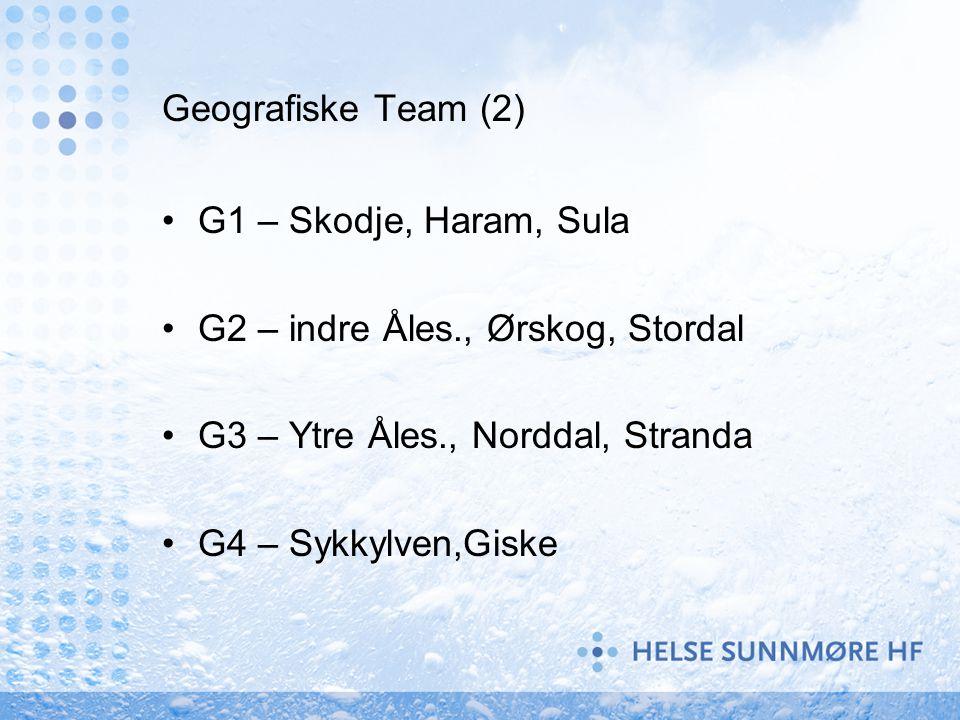 Geografiske Team (2) G1 – Skodje, Haram, Sula G2 – indre Åles., Ørskog, Stordal G3 – Ytre Åles., Norddal, Stranda G4 – Sykkylven,Giske