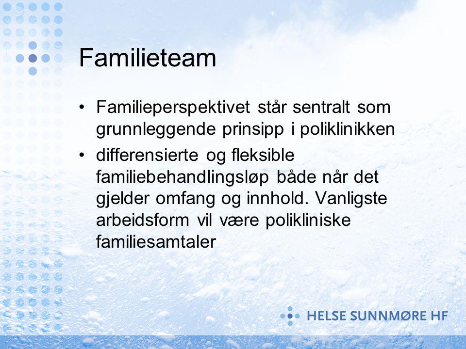 Familieteam Familieperspektivet står sentralt som grunnleggende prinsipp i poliklinikken differensierte og fleksible familiebehandlingsløp både når de