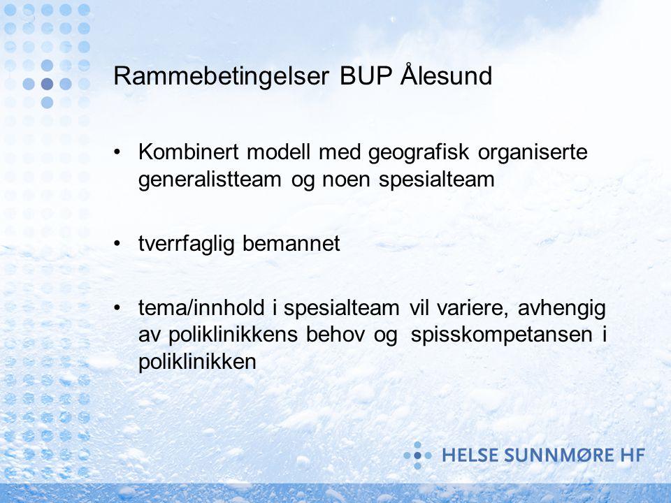 Rammebetingelser BUP Ålesund Kombinert modell med geografisk organiserte generalistteam og noen spesialteam tverrfaglig bemannet tema/innhold i spesia