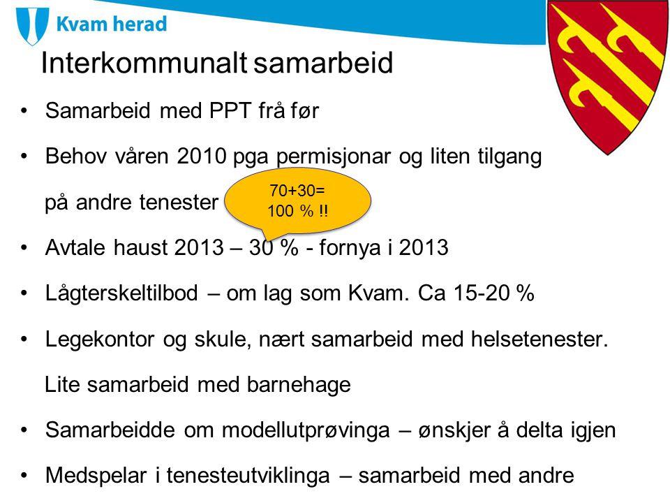 Interkommunalt samarbeid Samarbeid med PPT frå før Behov våren 2010 pga permisjonar og liten tilgang på andre tenester Avtale haust 2013 – 30 % - forn