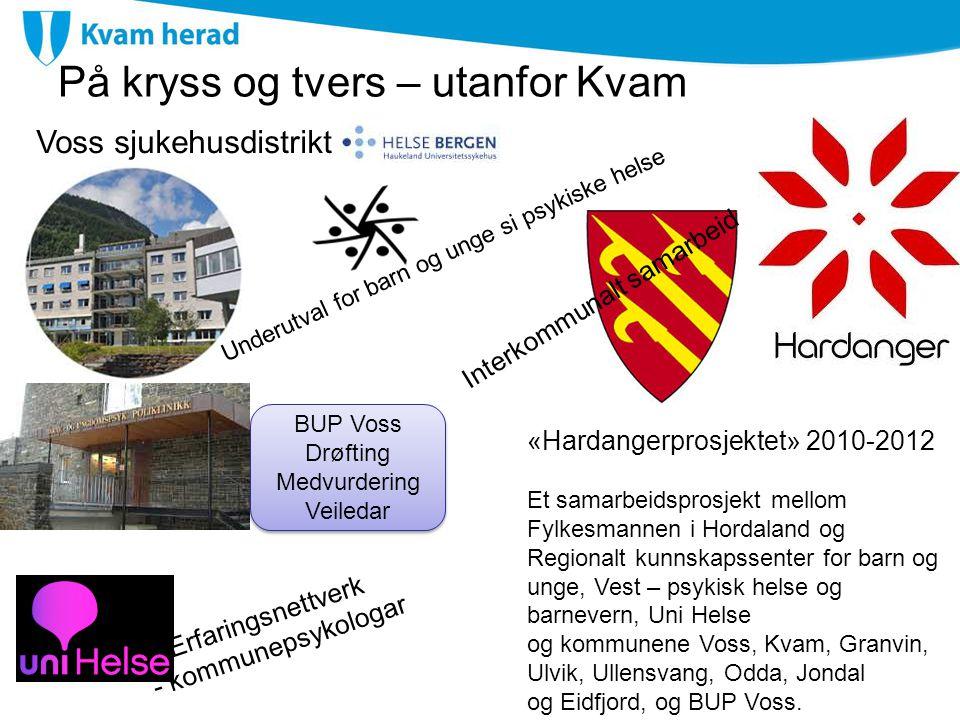 På kryss og tvers – utanfor Kvam Voss sjukehusdistrikt Erfaringsnettverk - kommunepsykologar «Hardangerprosjektet» 2010-2012 Et samarbeidsprosjekt mel
