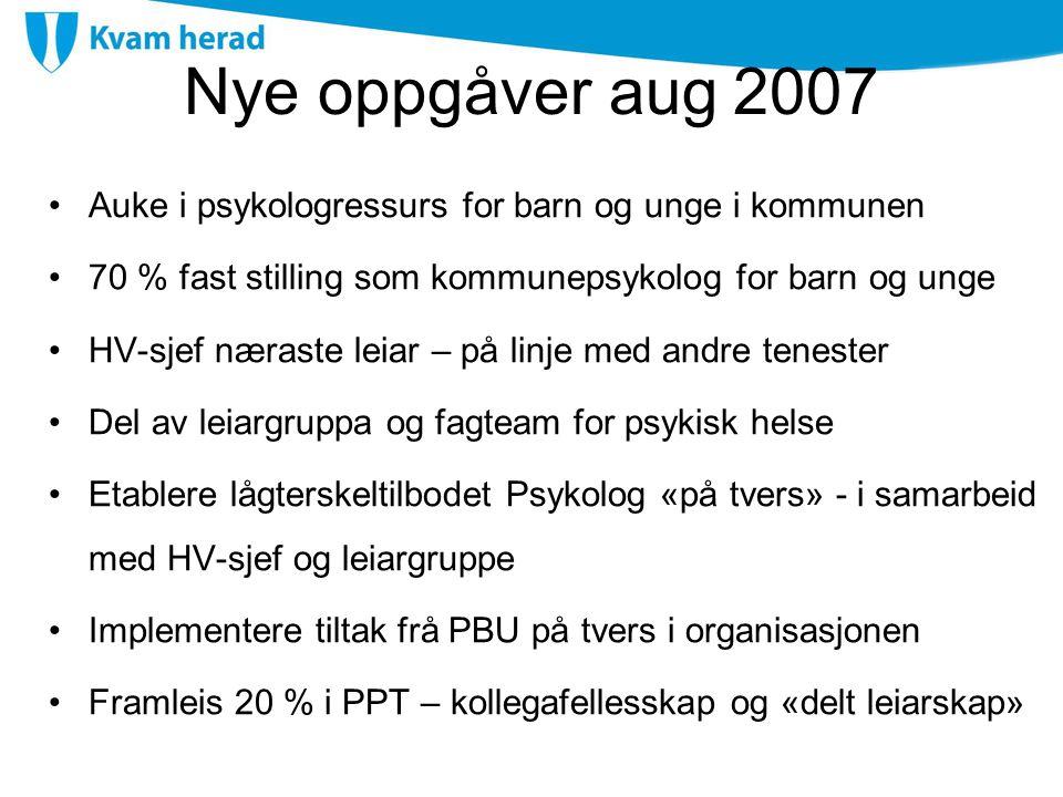 Nye oppgåver aug 2007 Auke i psykologressurs for barn og unge i kommunen 70 % fast stilling som kommunepsykolog for barn og unge HV-sjef næraste leiar