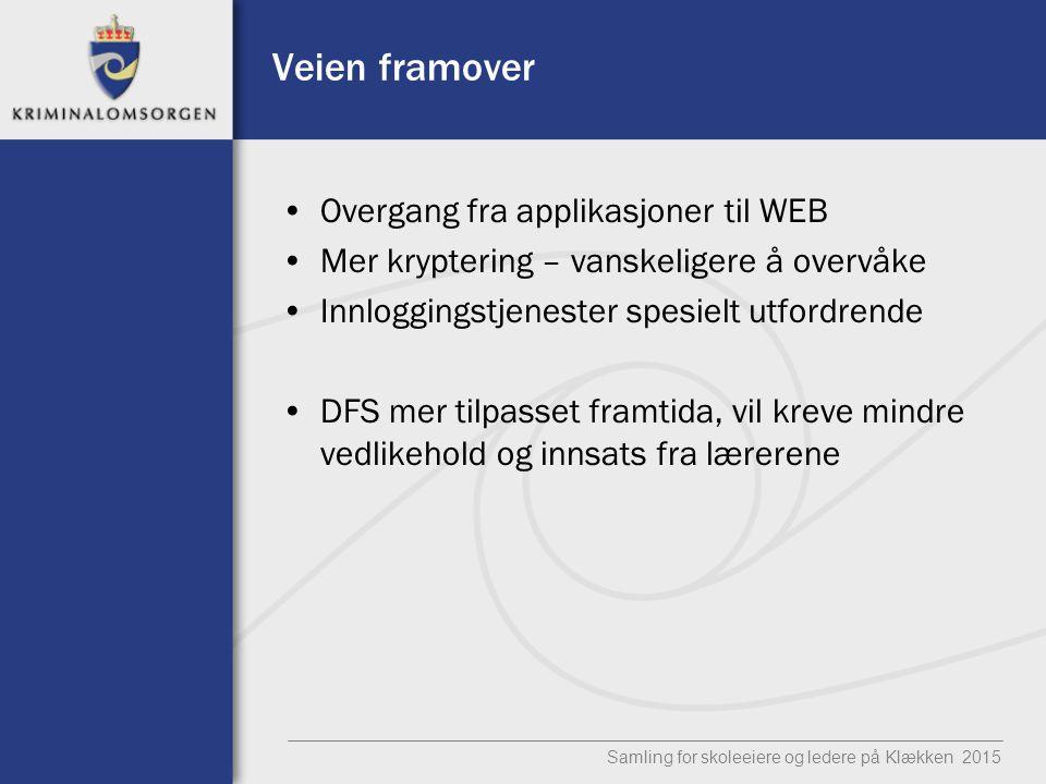 Veien framover Overgang fra applikasjoner til WEB Mer kryptering – vanskeligere å overvåke Innloggingstjenester spesielt utfordrende DFS mer tilpasset