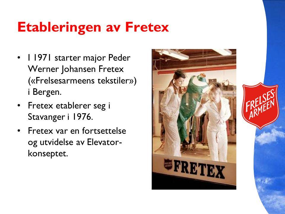 Etableringen av Fretex I 1971 starter major Peder Werner Johansen Fretex («Frelsesarmeens tekstiler») i Bergen. Fretex etablerer seg i Stavanger i 197