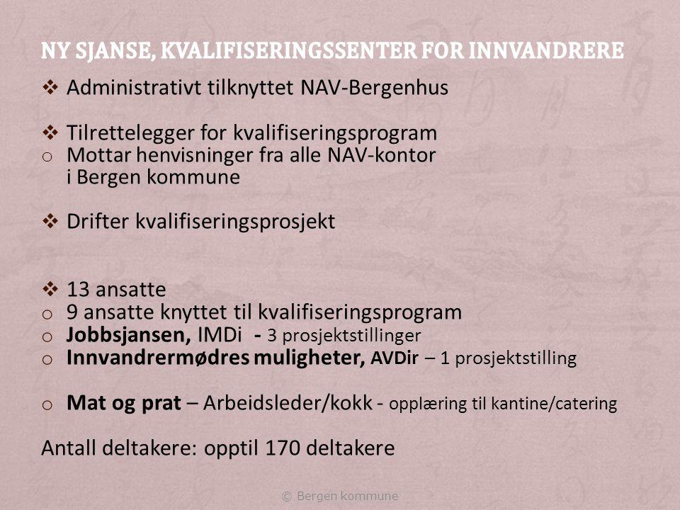 Antall deltakere:58 hjemmeværende: 37 overgangsstønad : 21 Skrevet ut i 2014:30 hjemmeværende: 22 (15 til jobb) overgangsstønad : 8 ( 4 til jobb) Måloppnåelse: 63.3 % hjemmeværende: 68.2 % overgangsstønad: 50,0 % © Bergen kommune