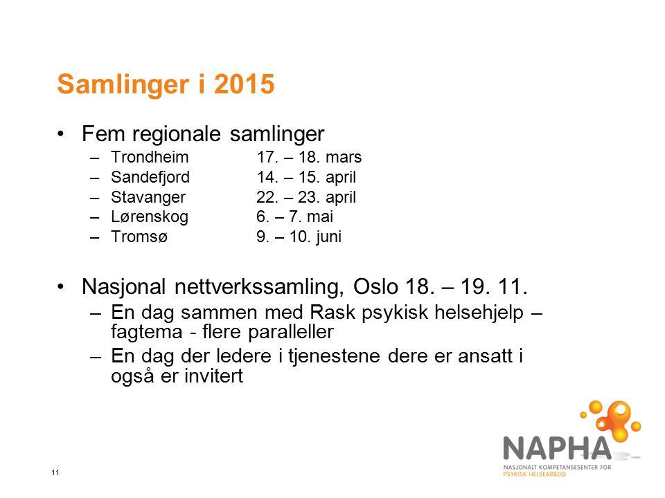 11 Samlinger i 2015 Fem regionale samlinger –Trondheim17. – 18. mars –Sandefjord14. – 15. april –Stavanger22. – 23. april –Lørenskog6. – 7. mai –Troms