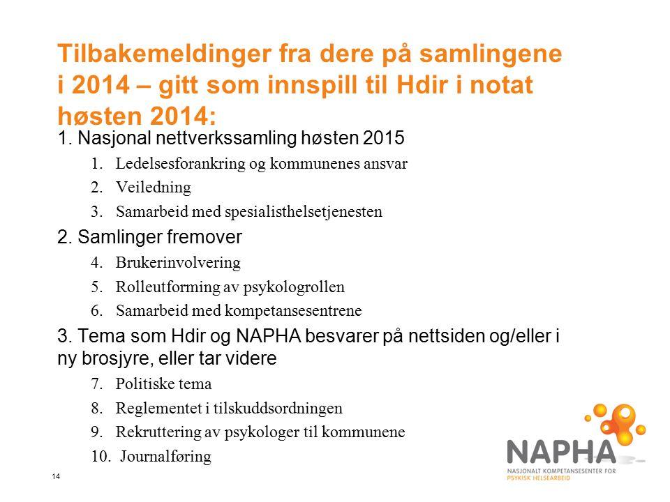 14 Tilbakemeldinger fra dere på samlingene i 2014 – gitt som innspill til Hdir i notat høsten 2014: 1.