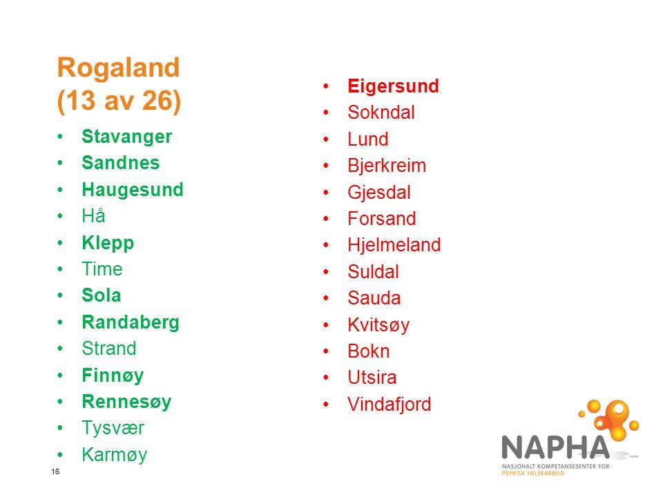 16 Rogaland (13 av 26) Stavanger Sandnes Haugesund Hå Klepp Time Sola Randaberg Strand Finnøy Rennesøy Tysvær Karmøy Eigersund Sokndal Lund Bjerkreim