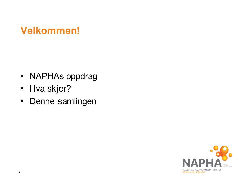 2 Velkommen! NAPHAs oppdrag Hva skjer? Denne samlingen