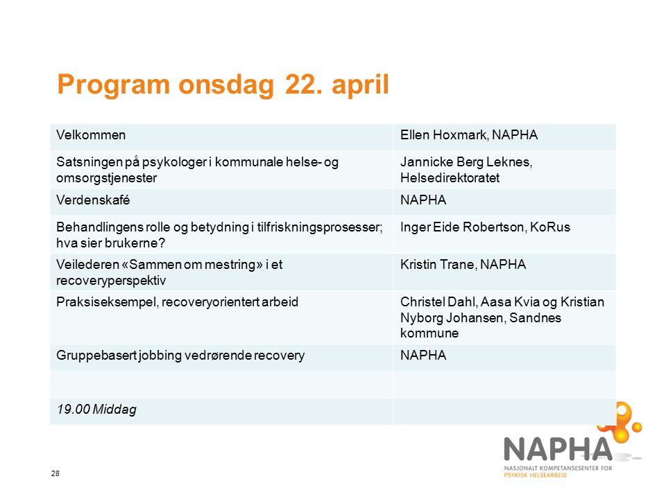 28 Program onsdag 22.