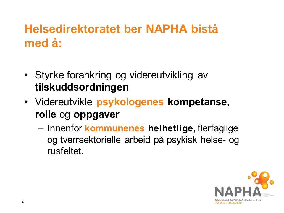 4 Helsedirektoratet ber NAPHA bistå med å: Styrke forankring og videreutvikling av tilskuddsordningen Videreutvikle psykologenes kompetanse, rolle og oppgaver –Innenfor kommunenes helhetlige, flerfaglige og tverrsektorielle arbeid på psykisk helse- og rusfeltet.
