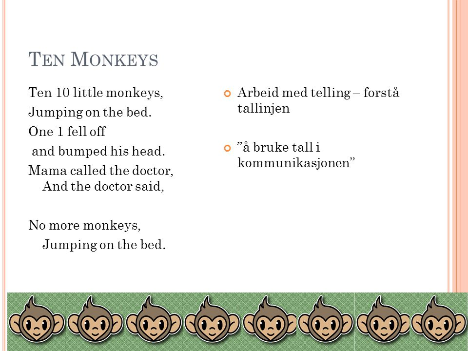 T EN M ONKEYS Ten 10 little monkeys, Jumping on the bed.