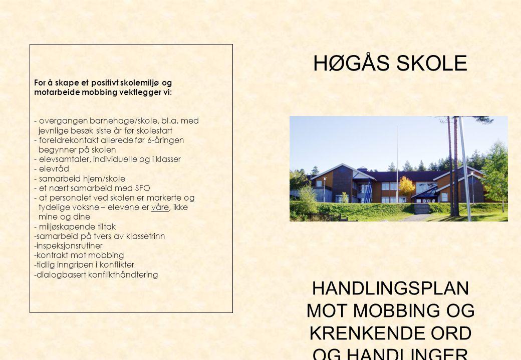 Ingen skal tåle…..I denne folderen presenterer Høgås skole sin plan mot mobbing.